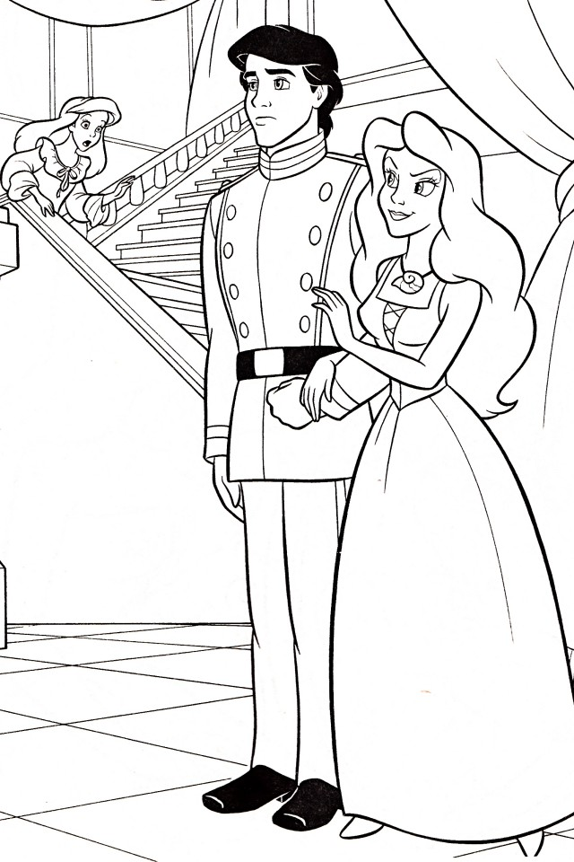 ariel and prince eric coloring pages az coloring pages
