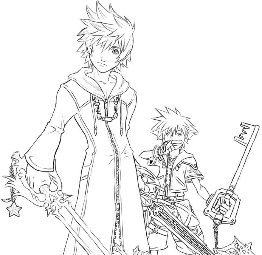 Kingdom Hearts Lineart : Kingdom hearts coloring pages az