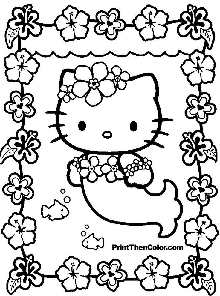 free hello kitty coloring pages for kids girly girl