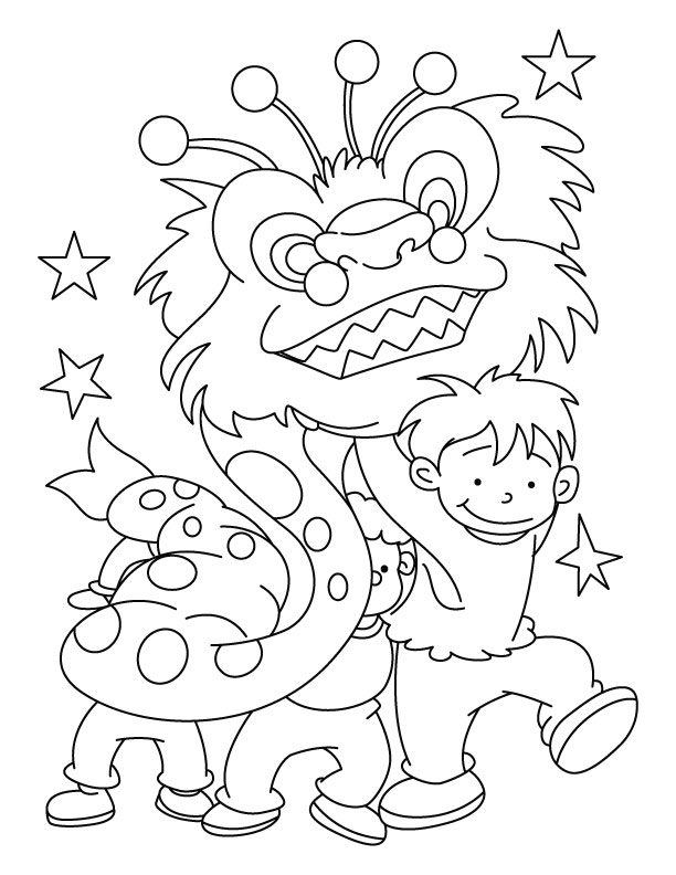 Chinese New Year Dragon Coloring Page Drawing of Alliances Colouring