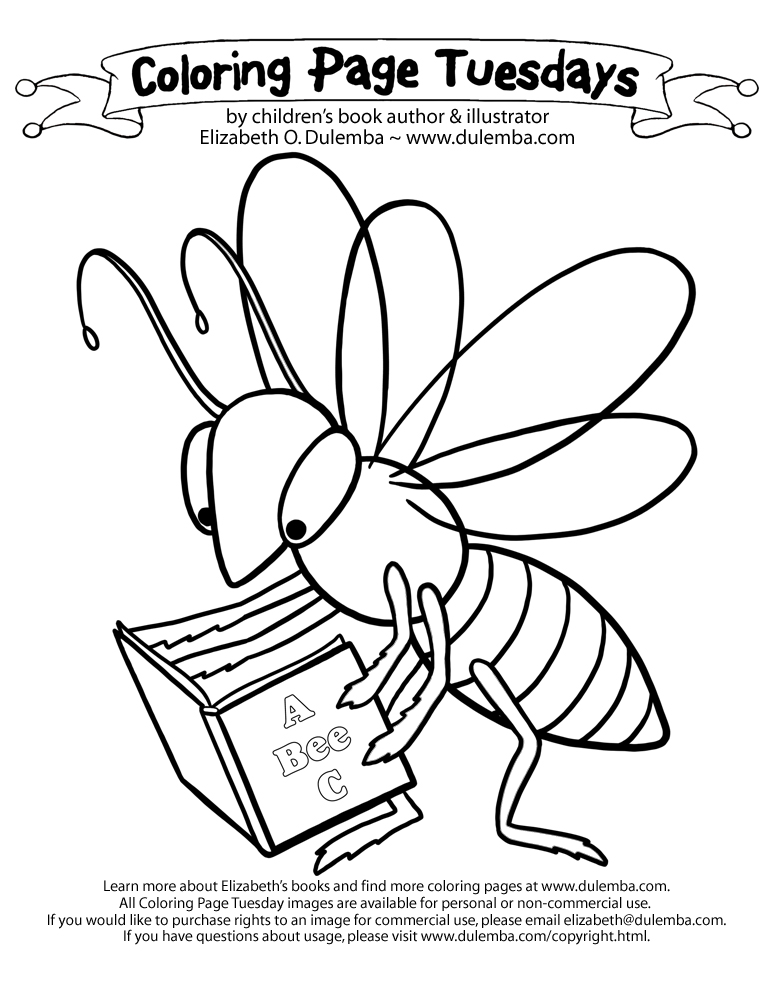 dulemba: Coloring Page Tuesday - Bee a Reader!