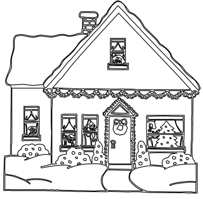 christmas house coloring pages printable - photo#4