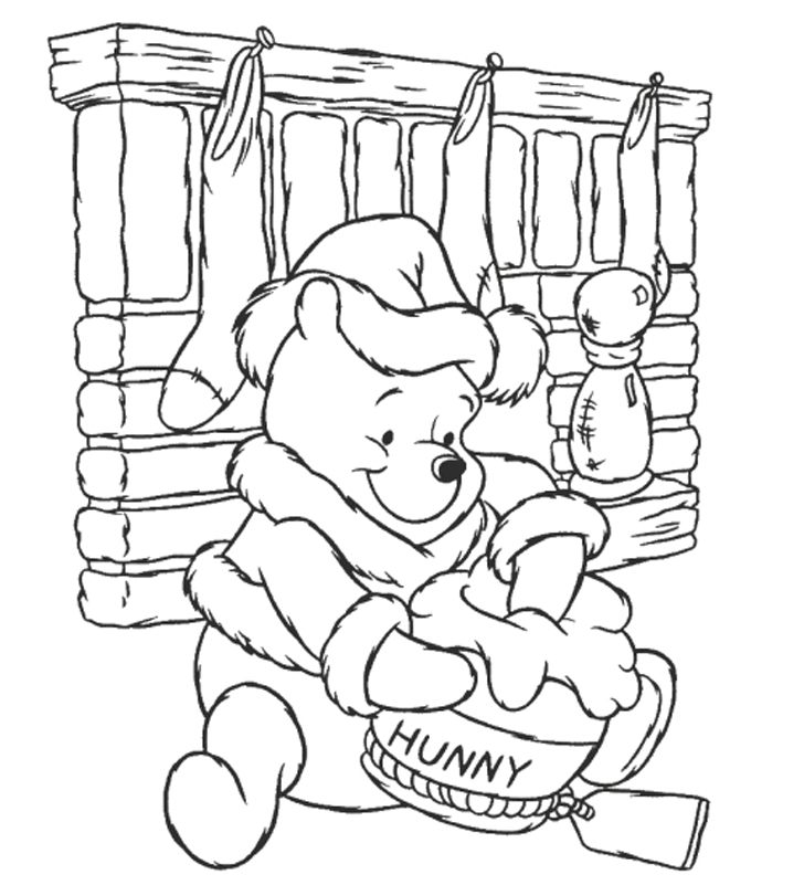 winnie the pooh with honey coloring pages - winnie xmas coloring pages az coloring pages