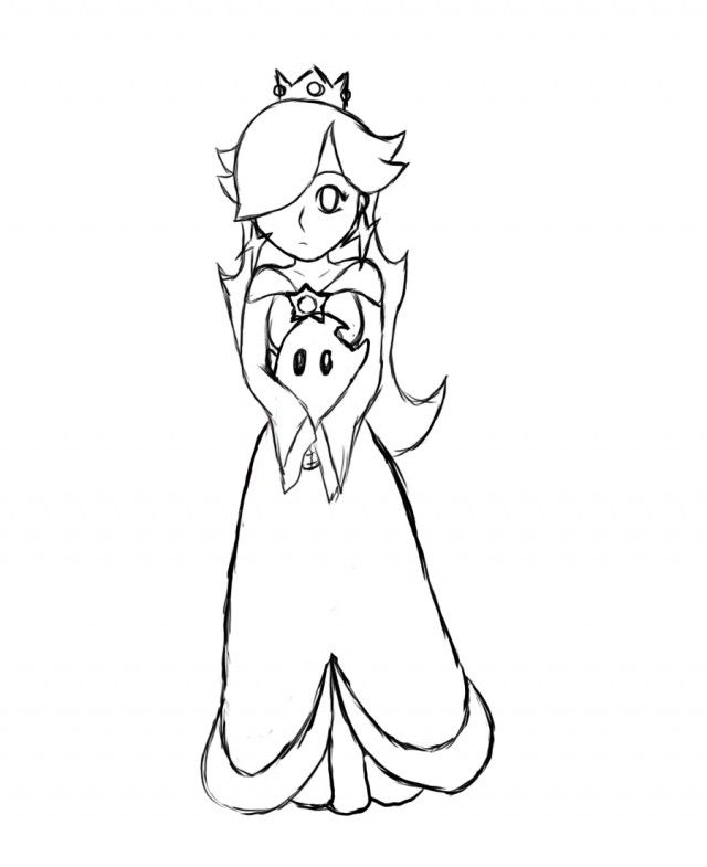 Rosalina Sketch By ZellyKun On DeviantART 150229 Princess Daisy Peach Colouring Pages