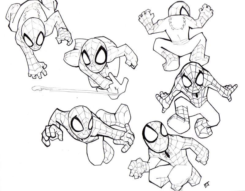 mini coloring pages spiderman - photo#1