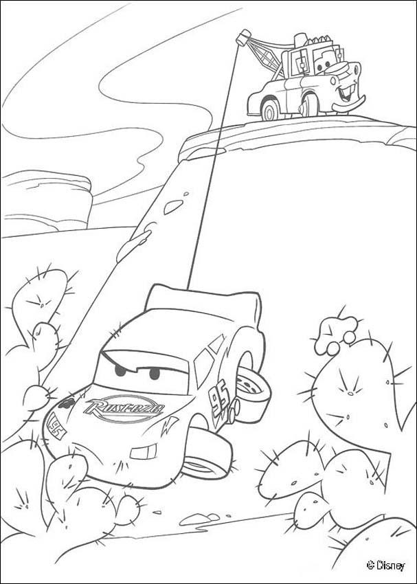 Cars coloring pages - Mater saving Lightning Mc Queen