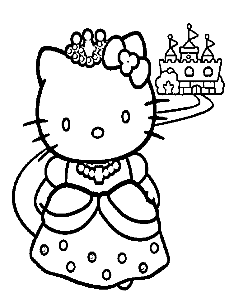 Hello Kitty Coloring Pages Princess