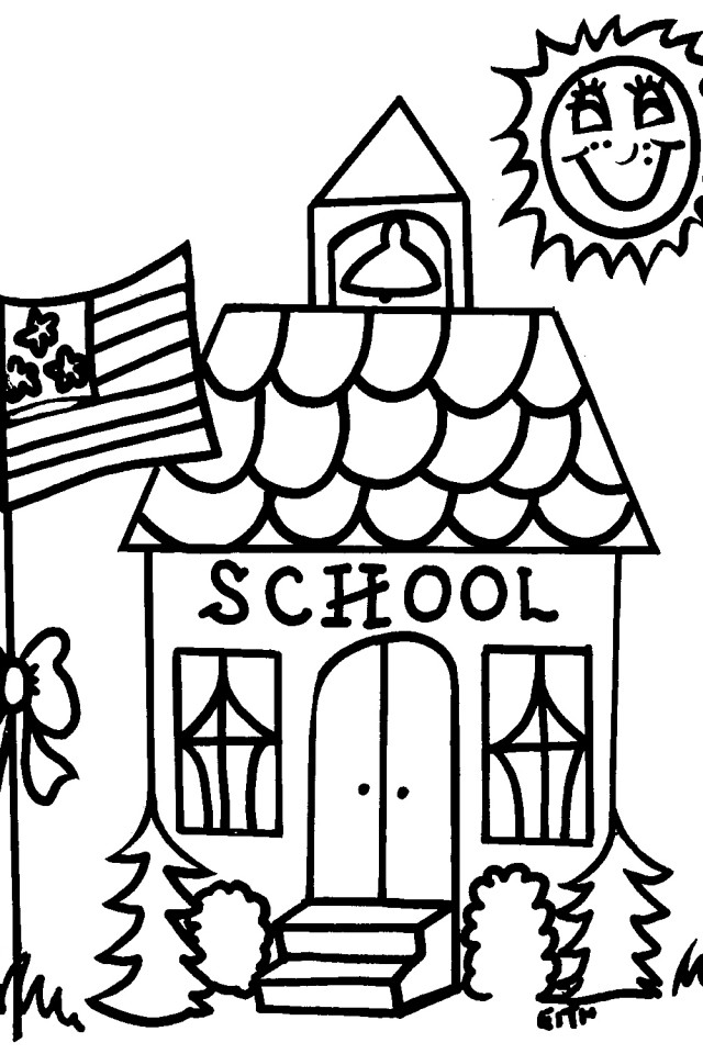 School Books Coloring Pages School House Coloring Page