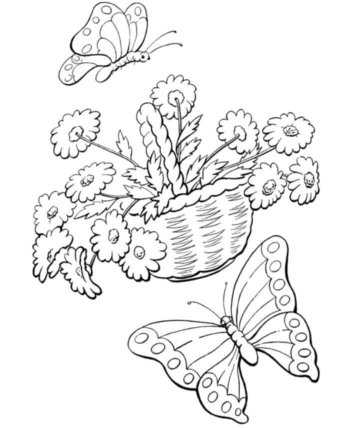 Welcome Spring Coloring Pages Butterflies And Flowers