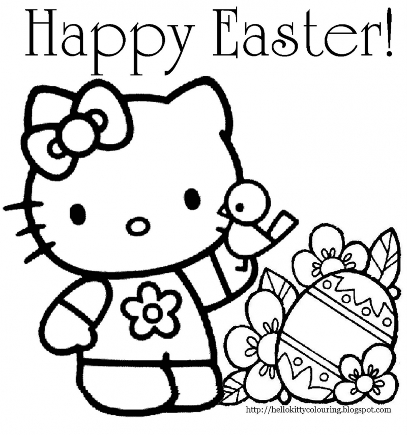 Hello Kitty Coloring Pages You Can Print : You can happy easter hello kitty coloring page here az