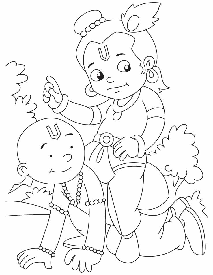 Krishna with sudama they are best friends ever in the for Coloring pages of krishna
