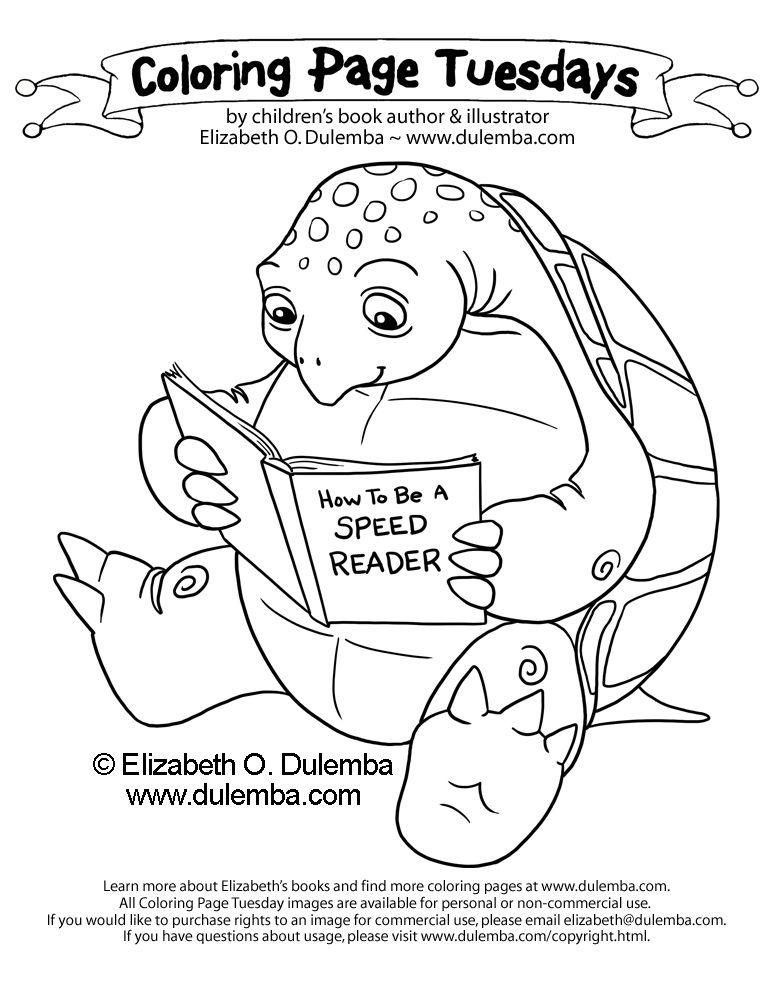 dulemba: Coloring Page Tuesday - Speed Reading Turtle!