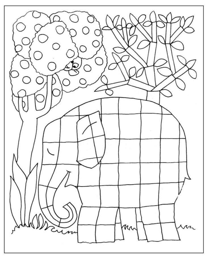 Elmer Elephant Coloring Page Kleurplaat