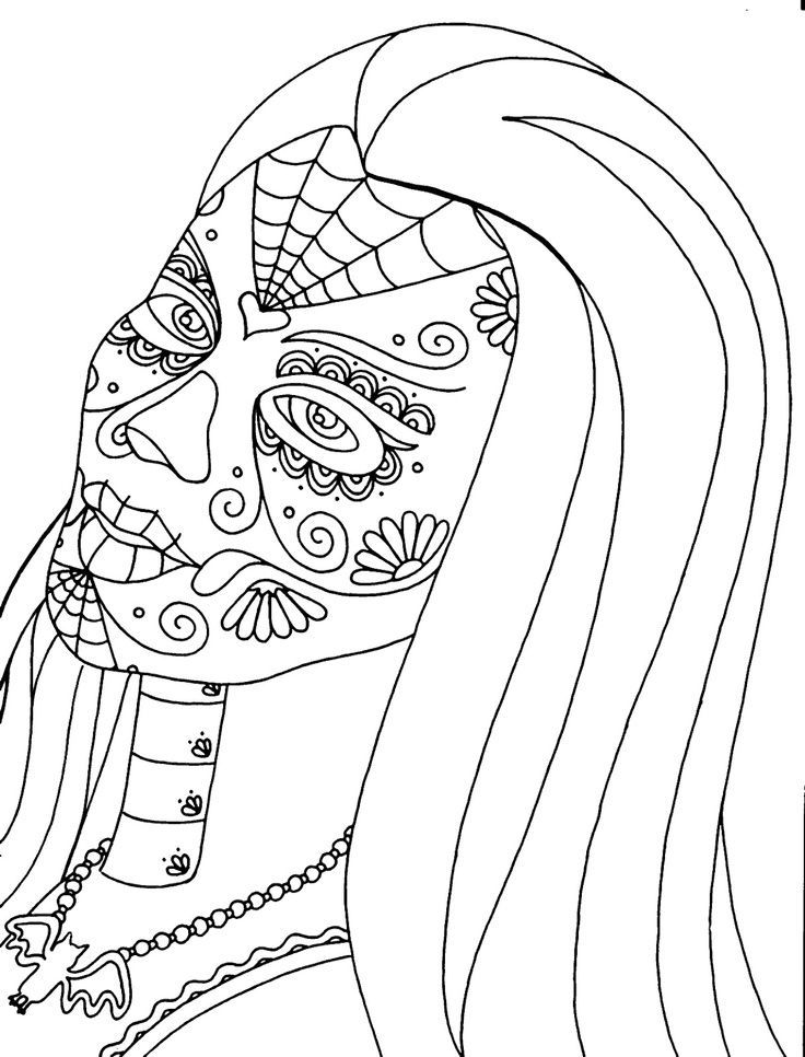 Pin by Deborah Henderson on Dia De Los Muertos coloring pages | Pinte…