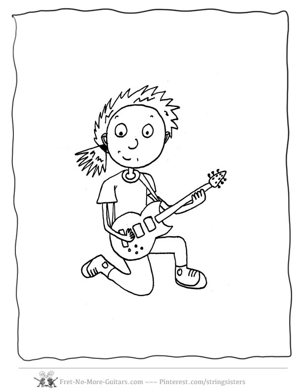guitar coloring pages girl guitar player 5