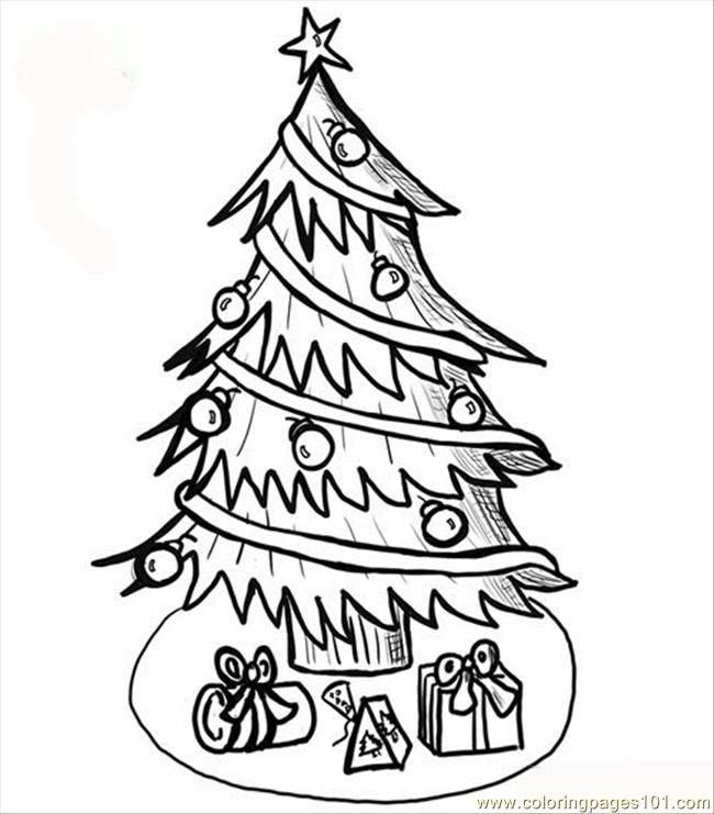 Coloring Pages Christmas Tree Coloring Page (Natural World > Trees