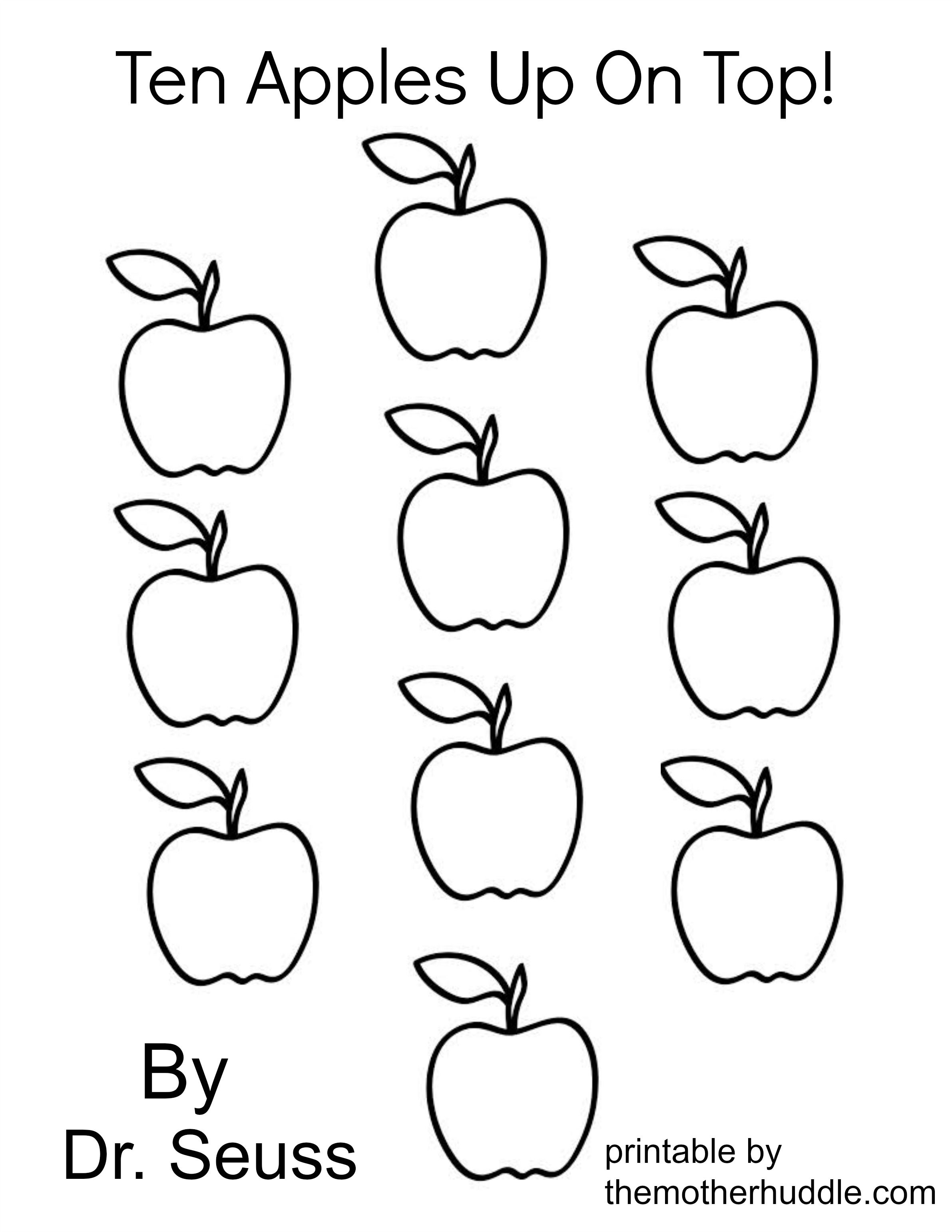 ten apples up on top coloring pages coloring home