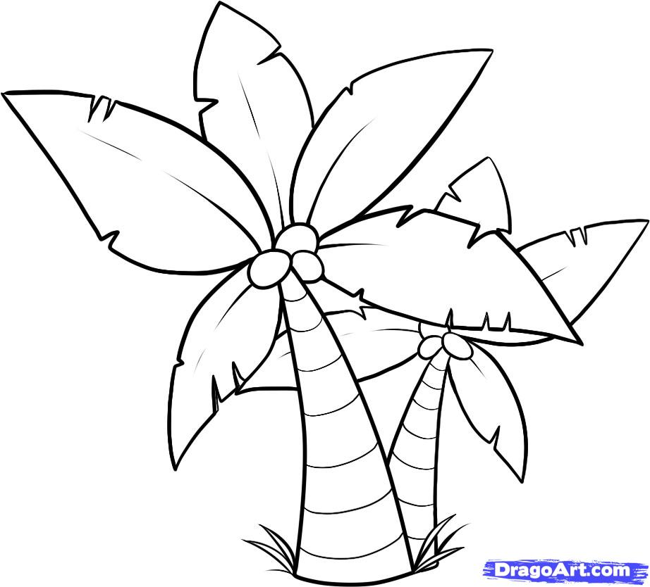 palm tree template az coloring pages