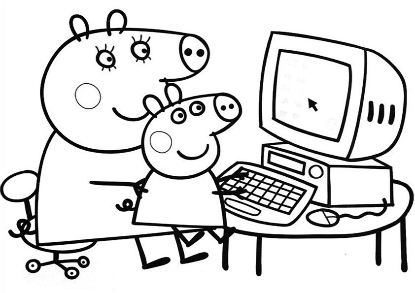 Pictures of peppa pig az coloring pages for Peppa pig coloring pages christmas