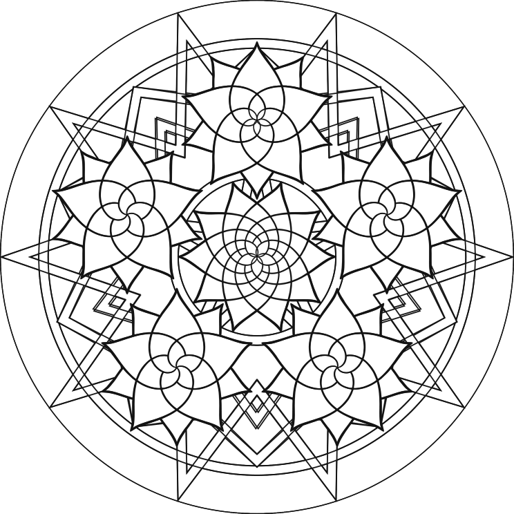 Complex Colouring Pages : Complex mandalas coloring pages