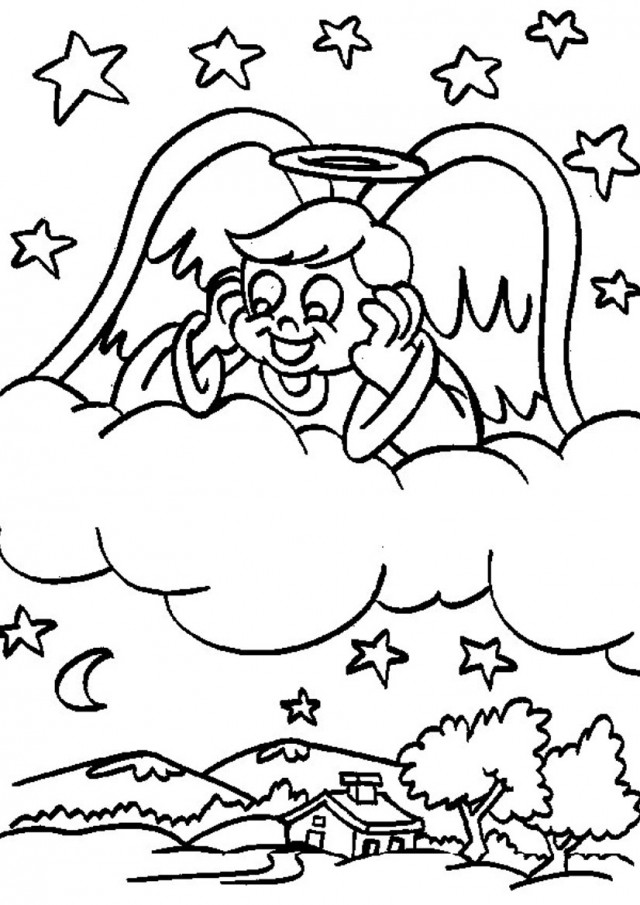 Happy Angel On Clouds Coloring Pages Angel Coloring Sheet Coloring