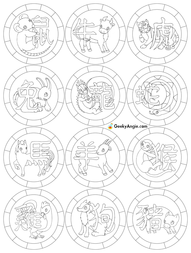 Chinese Zodiac Coloring Pages Coloring Home Zodiac Coloring Pages