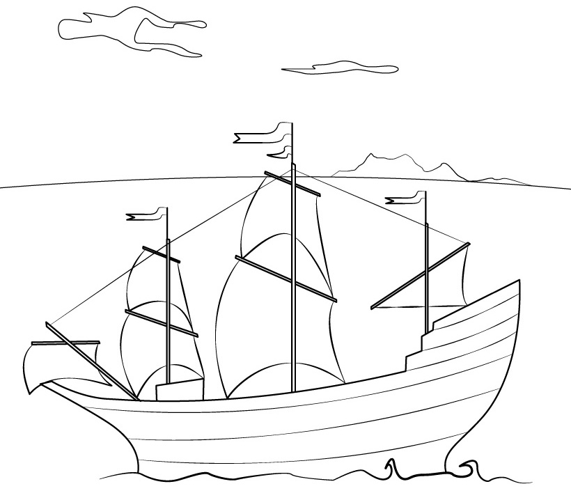 Coloring Pictures Mayflower - Coloring