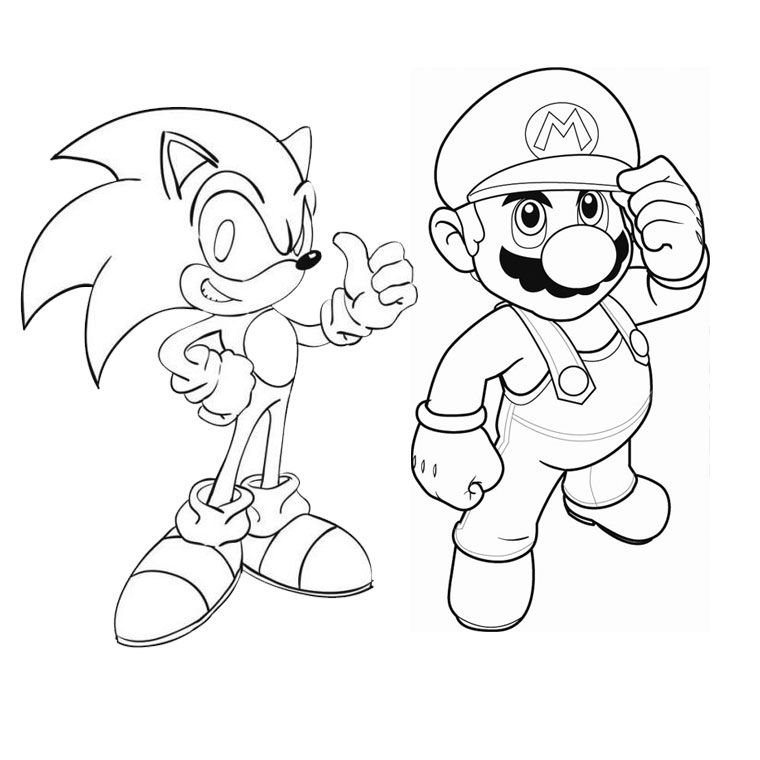 sonic and mario coloring pages to print | Pictures Of Mario And Sonic - Coloring Home