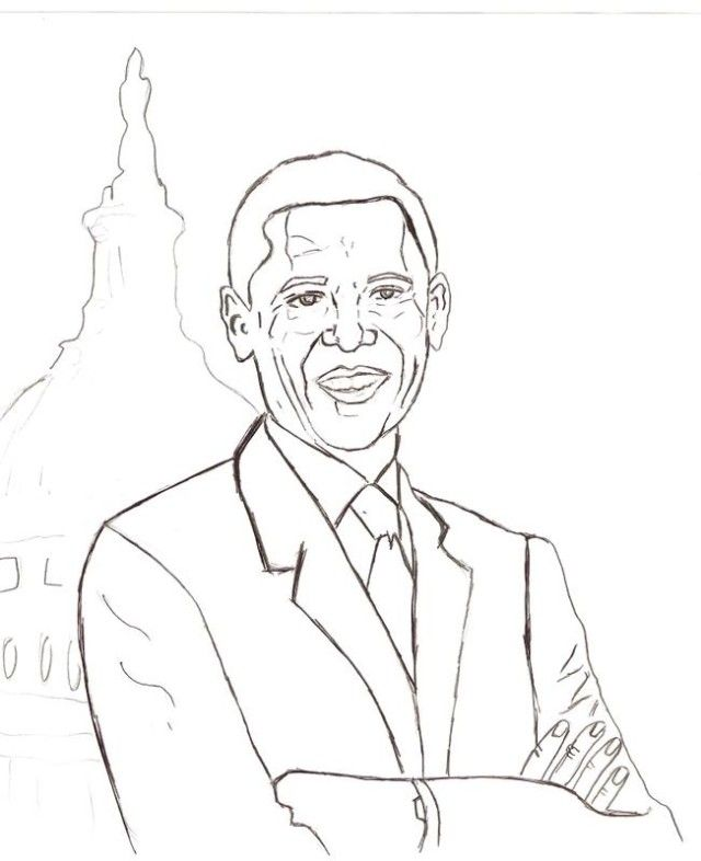 Barack Obama Coloring Pages For Kids Coloring Home Barack Obama Coloring Page