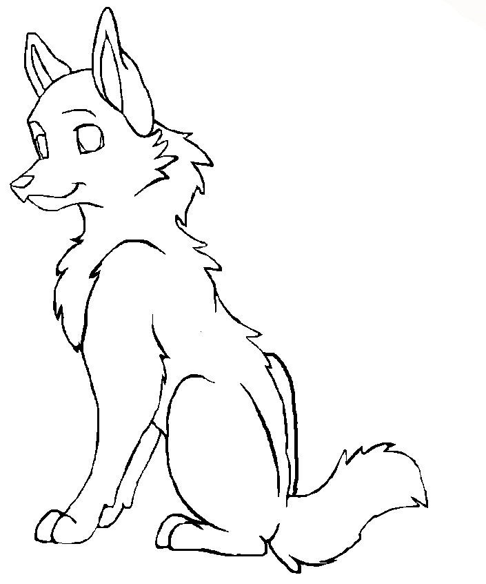 Wolf Outline Drawing - AZ Coloring Pages