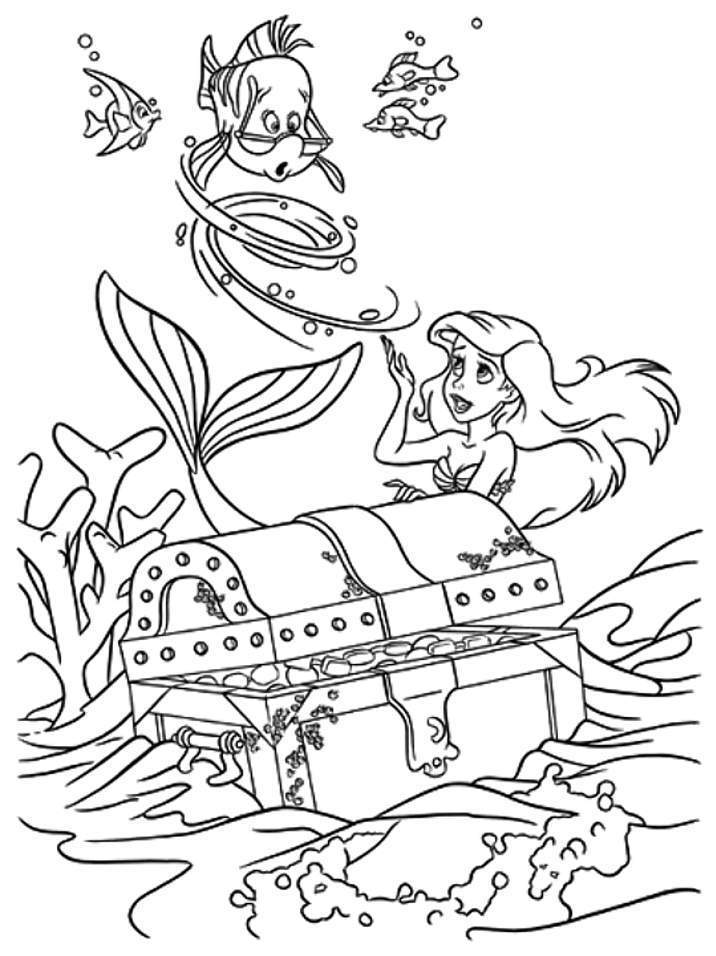Ariel And Flounder Coloring Pages - Free Printable Coloring Pages
