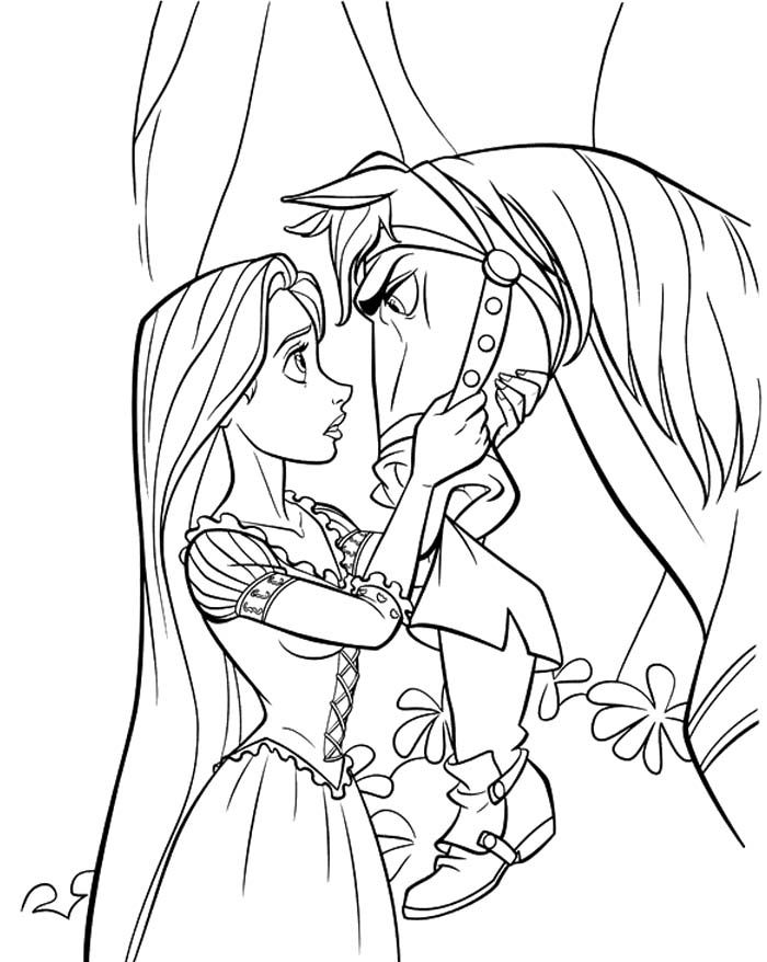 Princess Rapunzel Stared At Horse Coloring Pages - Princess
