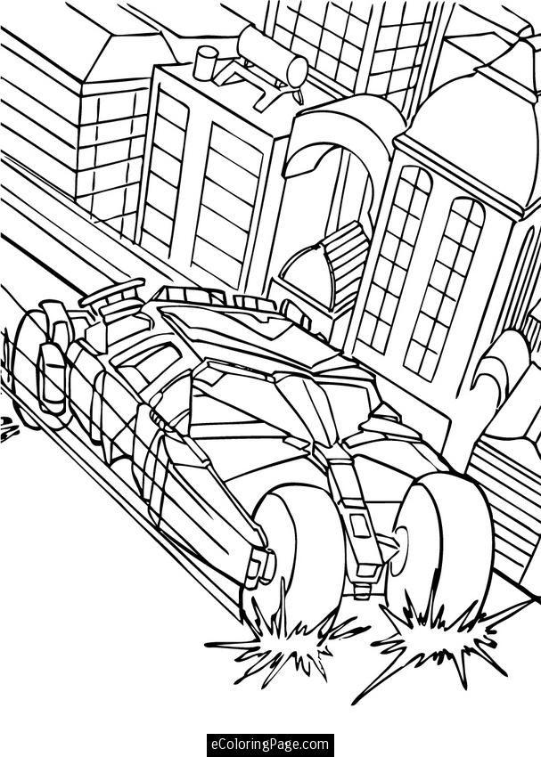 Batman Batmobile Tumbler Coloring Page Printable