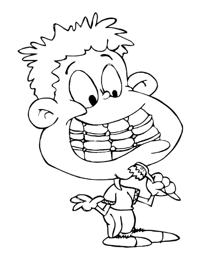 boy brushing teeth coloring pages - photo#31