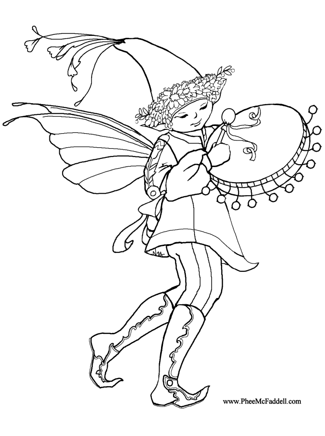 Elf Coloring Pages Pdf : Elf beating drum coloring page az pages