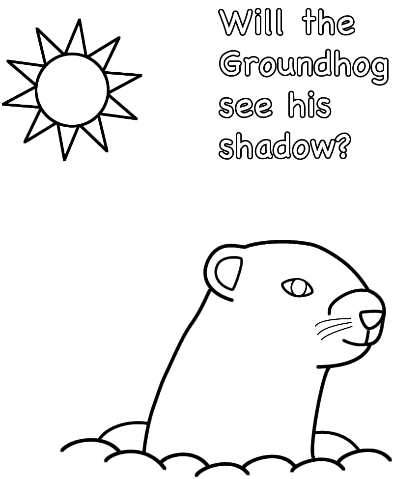 Will the Groundhog see his shadow? - Coloring Page (Groundhog Day)