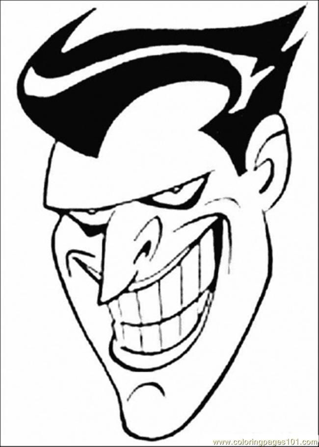 Coloring Pages Face Of Joker (Cartoons > Batman) - free printable
