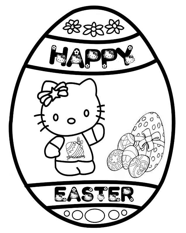 Print Hello Kitty Happy Easter Egg Coloring Page or Download Hello