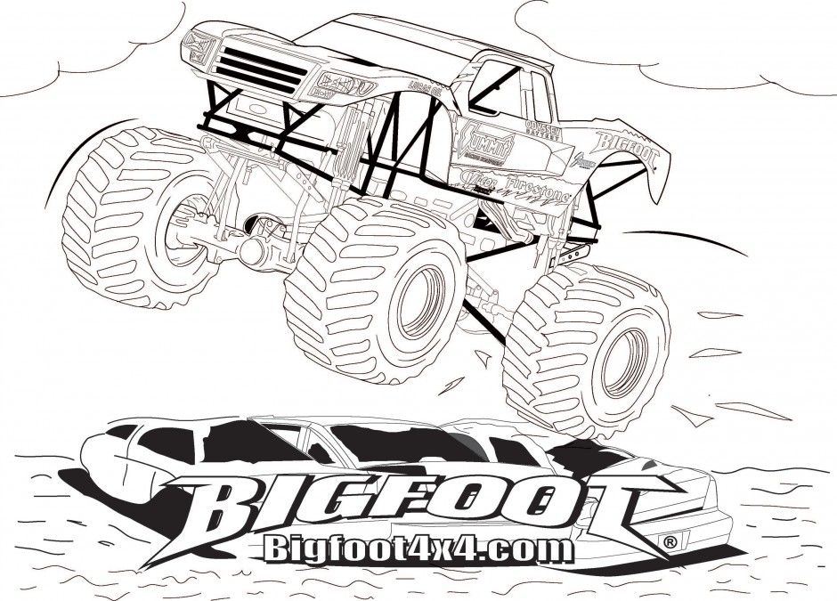 Coloring Pages Trucks Monster Truck Coloring Pages Monster Milk