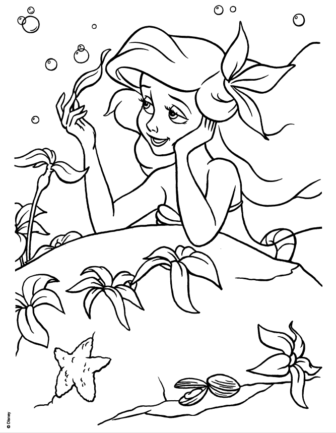 Disney Princesses - Ariel colouring pages {spring pages included