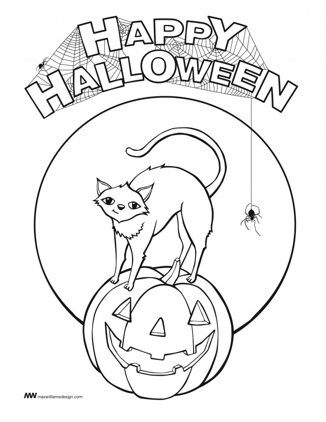 black cat coloring pages halloween - photo#35