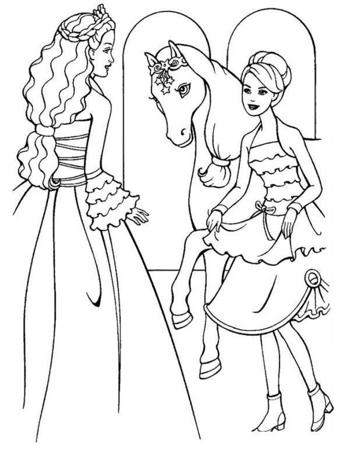 Beautiful Barbie Coloring Pages And The Magic Pegasus