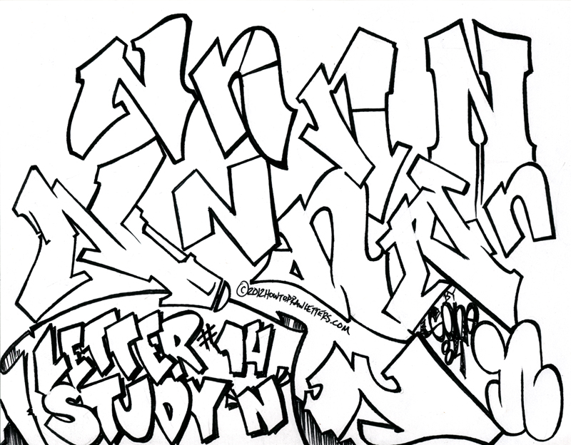 coloring pages of graffiti letters - photo#10