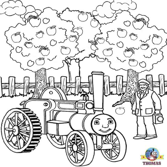 Free On Line Coloring Pages Kids Thomas The Train Apple Picking