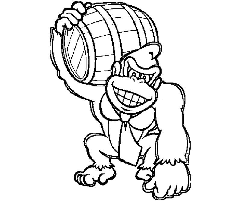Donkey kong coloring page coloring home for Donkey coloring pages free