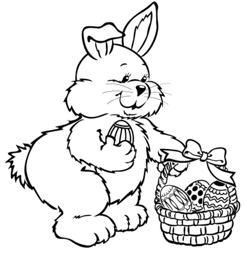 cute bunny colecting easter egg coloring pages ekids