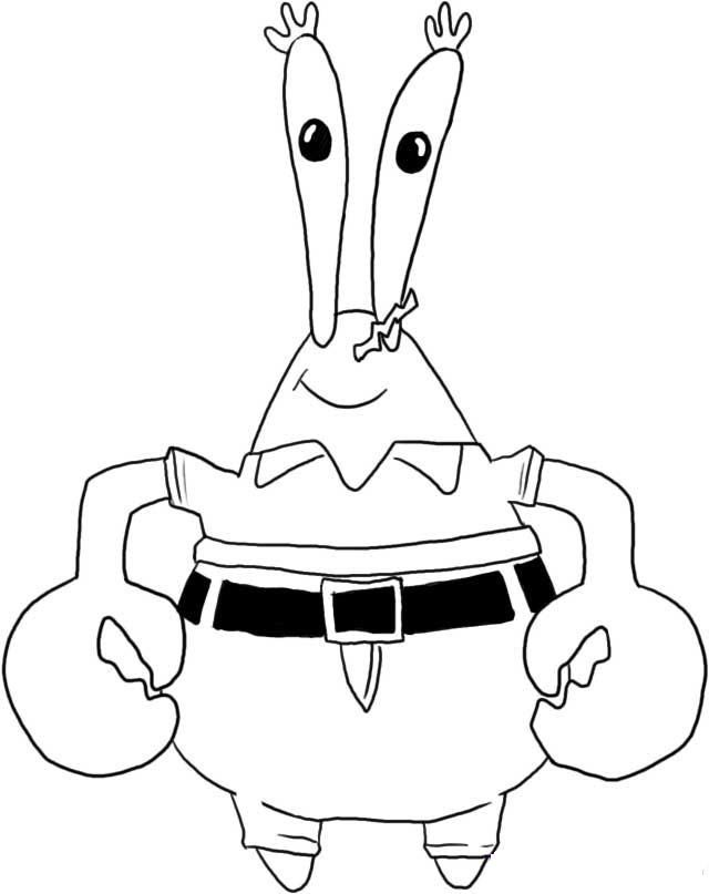 Mr.Krabs Spongebob Coloring Page for Kids - Nickelodeon Coloring