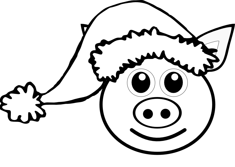 Pig 1 Face Pink With Santa Hat Black White Line Art ...