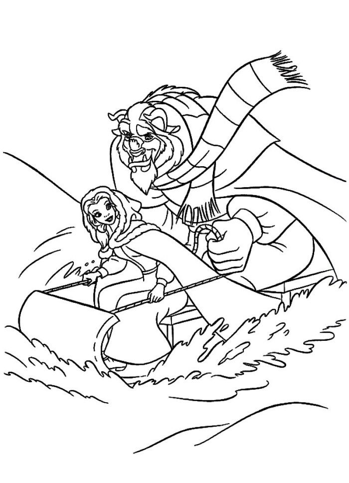 Belle In Beautiful Dress Beauty And The Beast Coloring Page