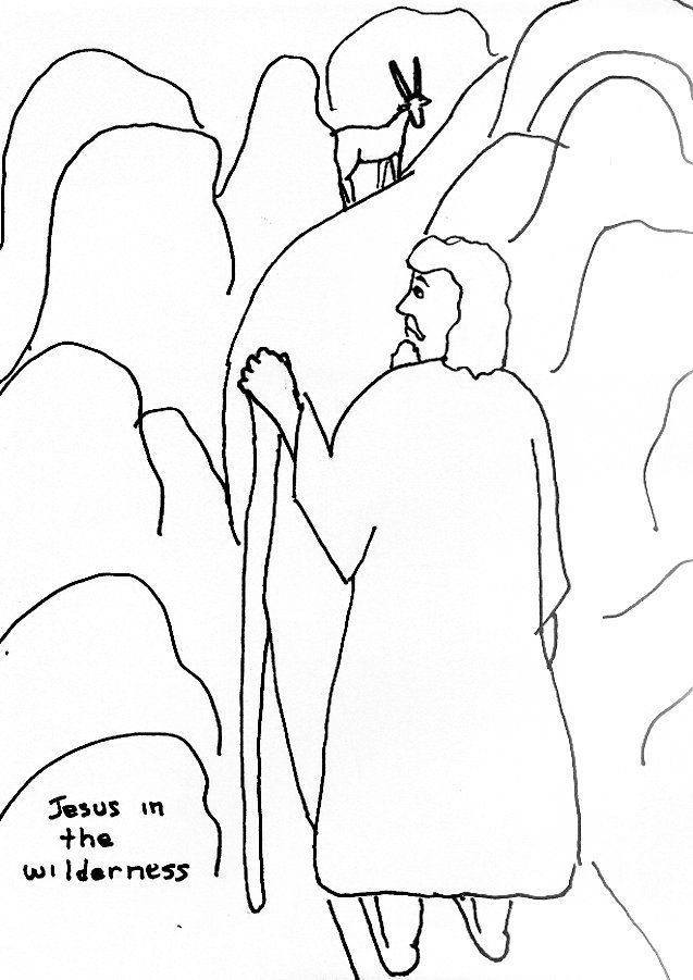 Bible Story Coloring Page For Temptation Of Jesus In The